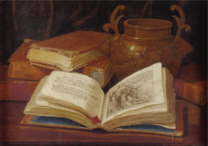 Claude Raguet Hirst - Still life with books and vase