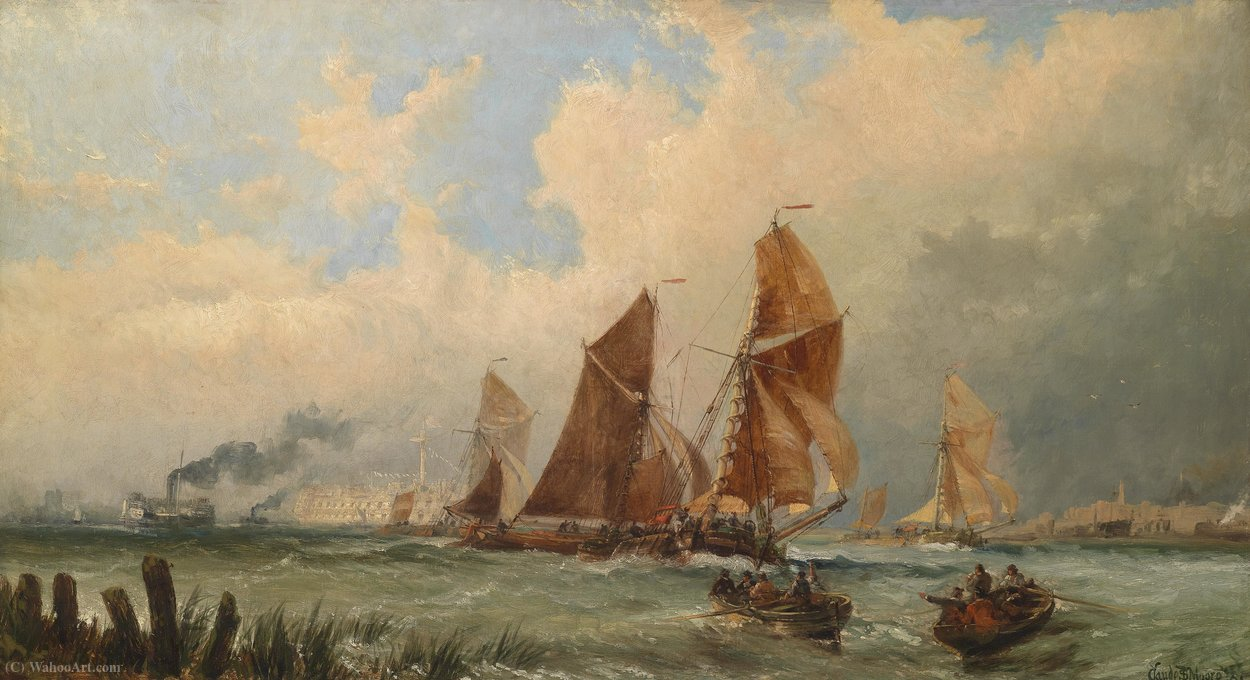 Order Paintings Reproductions | Ships at the port of Portsmouth by Claude Thomas Stanfield Moore (1853-1901, United Kingdom) | WahooArt.com