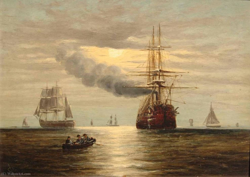 Steam-powered sailing ship and other craft by moonlight by Claude Thomas Stanfield Moore by Claude Thomas Stanfield Moore (1853-1901, United Kingdom) | Reproductions Claude Thomas Stanfield Moore | WahooArt.com