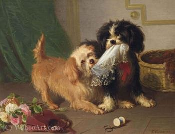 The cheeky dogs by Conradyn Cunaeus (1828-1895, Netherlands)