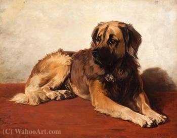 The faithful Leonberger by Conradyn Cunaeus (1828-1895, Netherlands) | Oil Painting | WahooArt.com