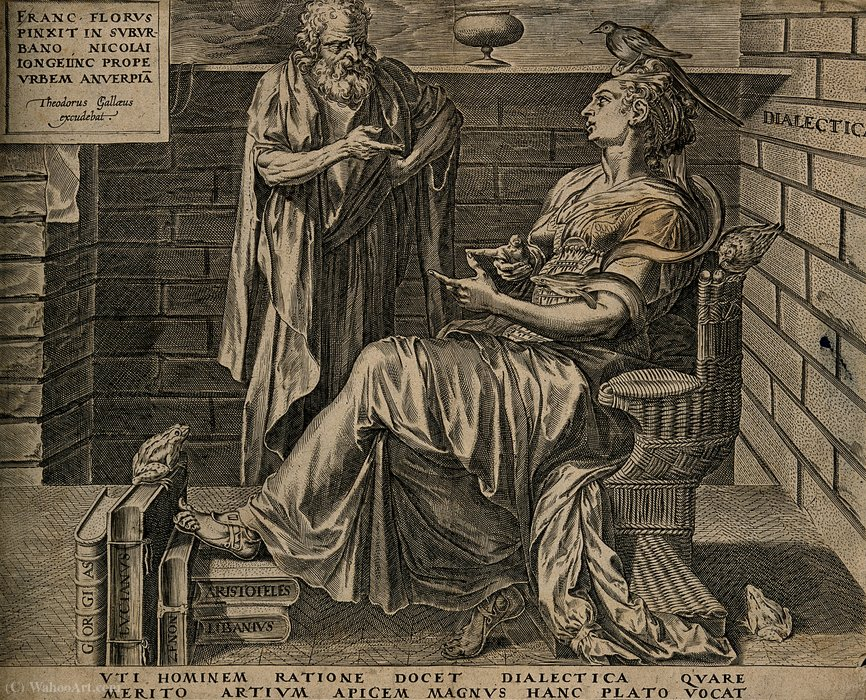 An old man discourses with a woman with a bird on her head by Cornelis Cort (1533-1578, Netherlands)