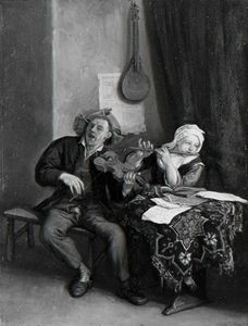 Cornelis Dusart - A Man and a Woman Making Music