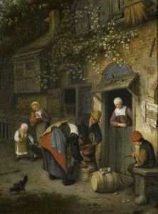 Order Reproductions | The milk seller by Cornelis Dusart (1660-1704, Netherlands) | WahooArt.com