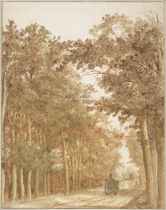 Cornelis Hendricksz The Younger Vroom - Forest Road with Two Horse-Drawn Carts