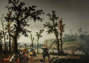 Cornelis Hendricksz The Younger Vroom - Landscape with hunters.