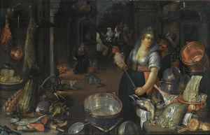 Cornelis Jacobsz Delff - A kitchen still life with a maid and her admirer next to a table with dead hares, fowl, bread rolls