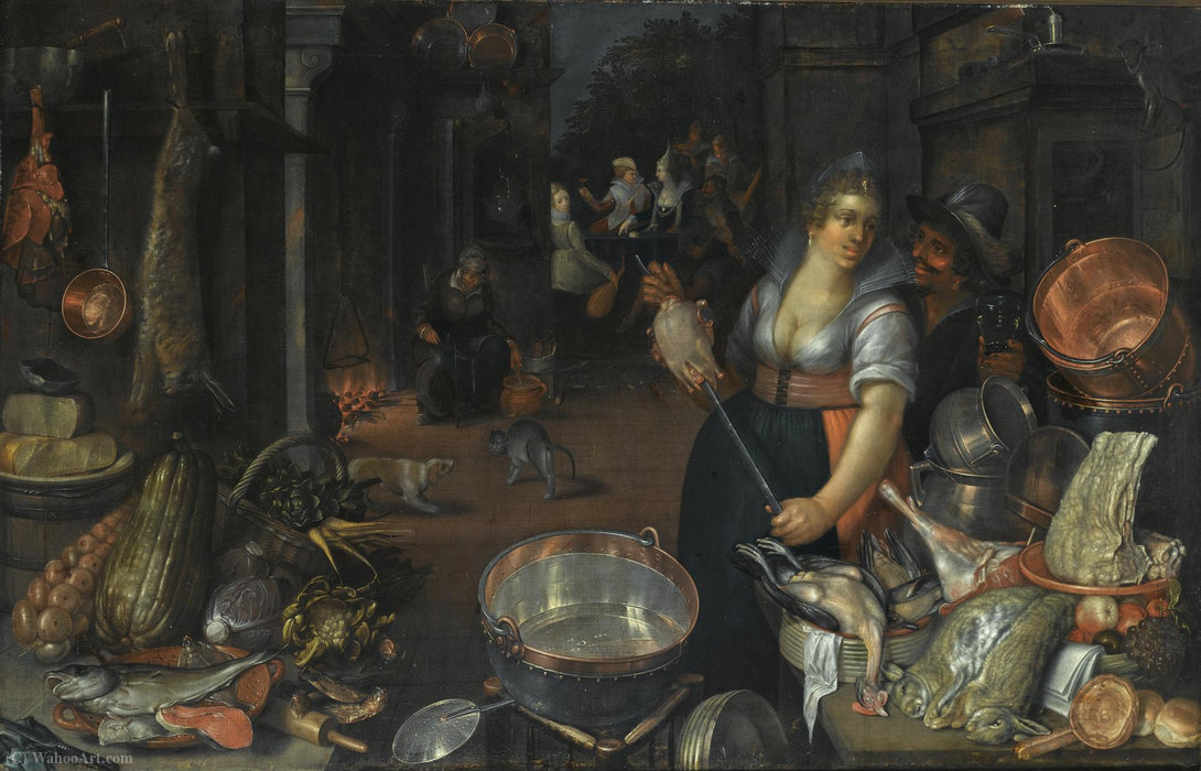 A kitchen still life with a maid and her admirer next to a table with dead hares, fowl, bread rolls by Cornelis Jacobsz Delff (1580-1638, Netherlands)