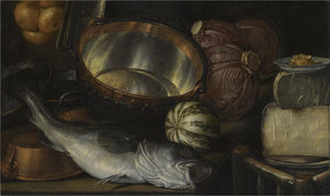Cornelis Jacobsz Delff - A still life with a fish, onions, cabbage, cheese and copper pots