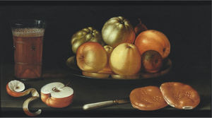 Cornelis Jacobsz Delff - Still life with apples and other fruit on a tazza