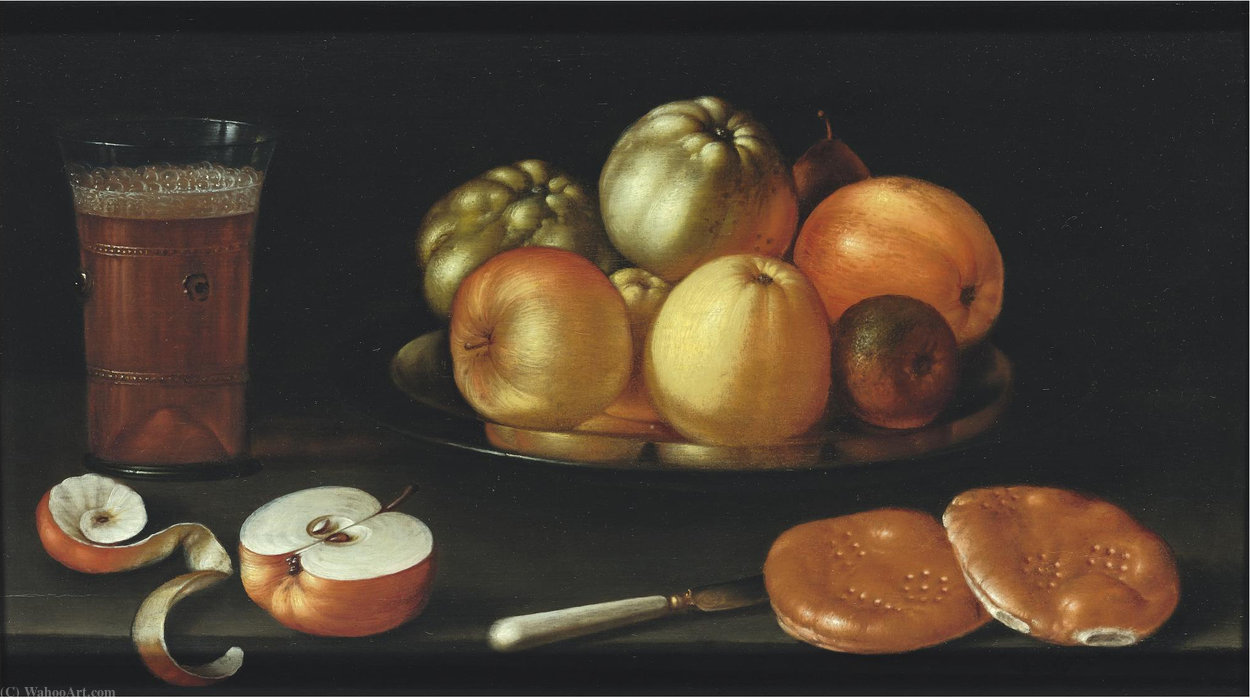 Still life with apples and other fruit on a tazza by Cornelis Jacobsz Delff  (order Fine Art Framed Giclee Cornelis Jacobsz Delff)