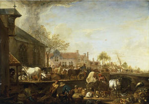 Cornelis Saftleven (Cornelis Zachtleven) - A Cattle Market by a Canal on the Edge of a Dutch Town