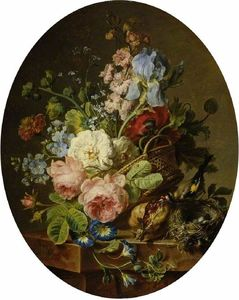 Cornelis Van Spaendonck - Open wicker basket of mixed flowers, including iris, roses, poppies, hollyhock, marigold, larkspur and convolvulus on a marble ledge