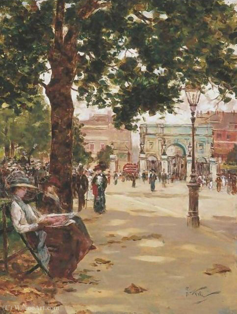 Marble arch, speakers corner, london by Count Girolamo Pieri Nerli (1860-1926, Italy) | Art Reproductions Count Girolamo Pieri Nerli | WahooArt.com