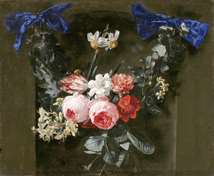 Daniel Seghers - Wreath of pink roses