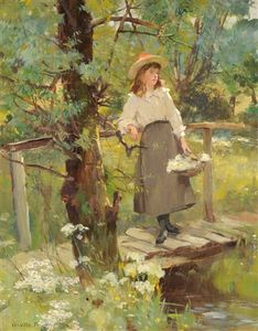 David Fulton - Girl on a sunlit bridge in a flower-strewn meadow