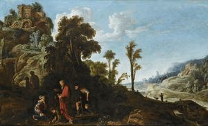 David Teniers The Elder - An extensive wooded landscape with a biblical scene