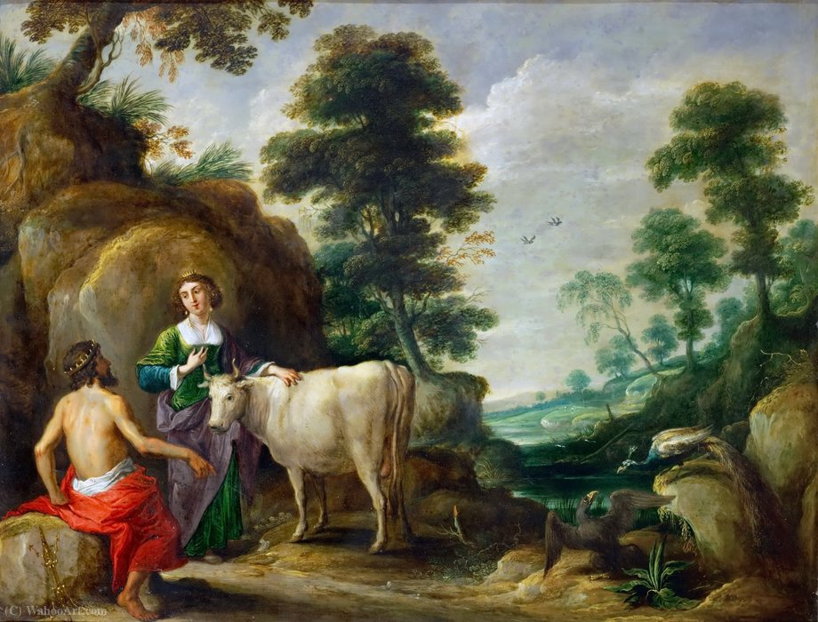 Io, transformed into a cow, is handed to Juno by Jupiter by David Teniers The Elder (1582-1649, Belgium)