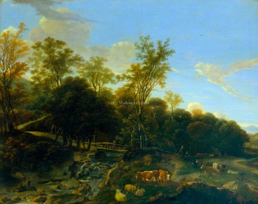 Landscape with a Rustic Bridge and Cattle by Dirck Van Der Lisse (1607-1669, Netherlands) | Museum Quality Reproductions | WahooArt.com