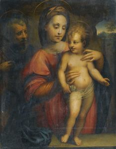 Domenico Puligo - Holy family, with the madonna supporting the standing christ child on a stone ledge