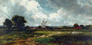 Edmund Morison Wimperis - Landscape with a Windmill