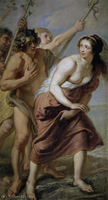 Bacchus and Ariadne by Erasmus Ii Quellinus (1607-1678, Belgium) | Famous Paintings Reproductions | WahooArt.com