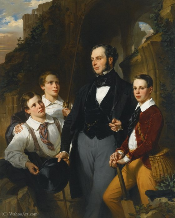 Portrait of laurence davidson and his three sons by Eugene Francois Marie Joseph Deveria (1805-1865, France)