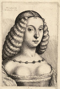 Francesco Bonsignori - Young woman with hair in rolls, after Bonsignori.