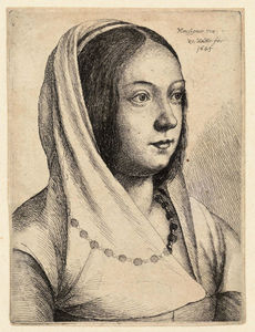 Order Museum Quality Reproductions : Young woman with scarf on her head, after Bonsignori. by Francesco Bonsignori (1460-1519, Italy) | WahooArt.com