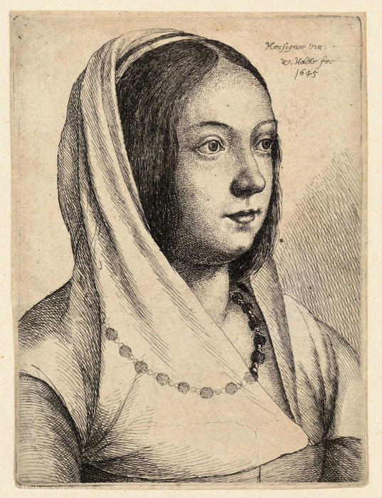 Young woman with scarf on her head, after Bonsignori. by Francesco Bonsignori (1460-1519, Italy)