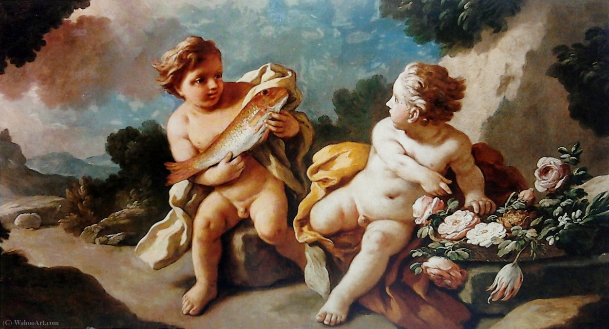 Allegory of the power of love. by Francesco De Mura (1696-1782, Italy) | Art Reproduction | WahooArt.com