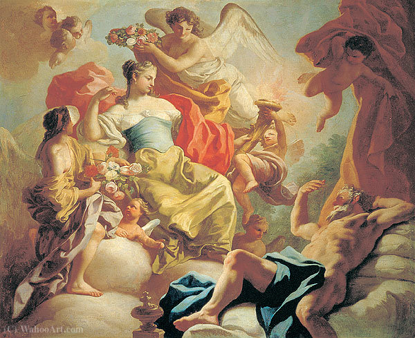 Aurora and Titonus by Francesco De Mura (1696-1782, Italy) | WahooArt.com