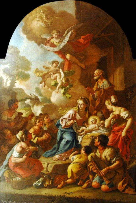 The Adoration of the Shepherds by Francesco De Mura (1696-1782, Italy) | Oil Painting | WahooArt.com