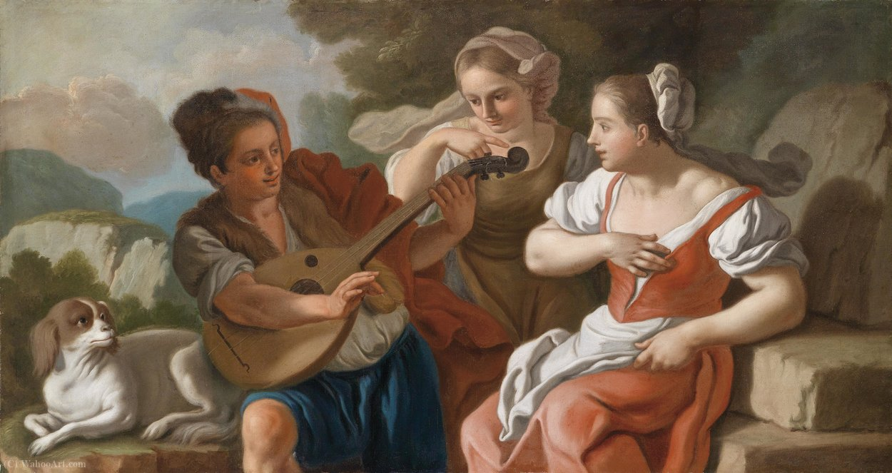 The lutenist by Francesco De Mura (1696-1782, Italy)