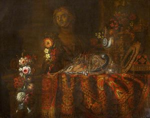 Francesco Fieravino (Il Maltese) - Still Life with a Rich Rug, Salver and Sweetmeats