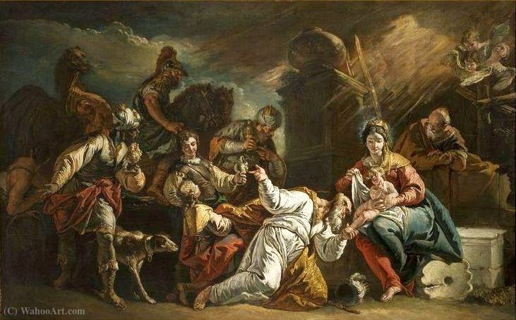 The Adoration of the Magi. by Francesco Fontebasso (1707-1769, Italy)