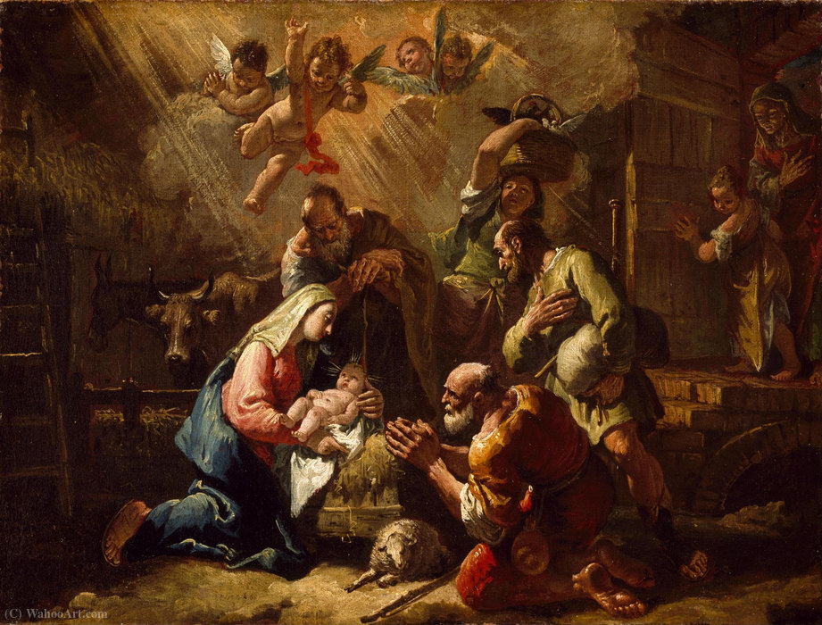 The Adoration of the Shepherds by Francesco Fontebasso (1707-1769, Italy) | Oil Painting | WahooArt.com