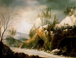 Francesco Foschi - Winter landscape in the Apennines with a cave