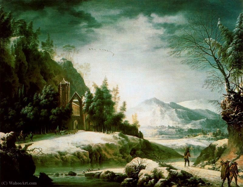 Winter landscape in the Apennines with ruined temple, by Francesco Foschi (1710-1780, Italy) | Painting Copy | WahooArt.com