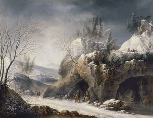 Francesco Foschi - Winter Landscape with a Paseant Family