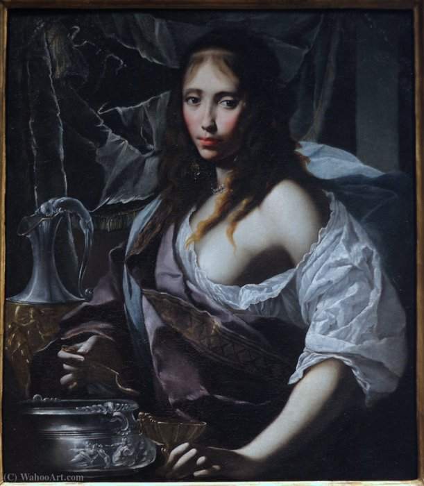 Artemisia Prepares to Drink the Ashes of her Husband, Mausolus. by Francesco Furini (1603-1646, Italy)