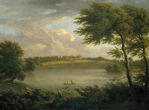 Francis Hayman - View of Copped Hall in Essex, from across the Lake