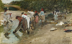 Francisco Pradilla Ortiz - Galician washerwomen