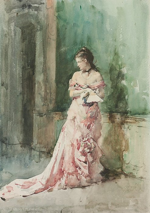 Portrait of a lady, full-length, in an evening dress, holding a fan by Francisco Pradilla Ortiz (1848-1921, Spain)
