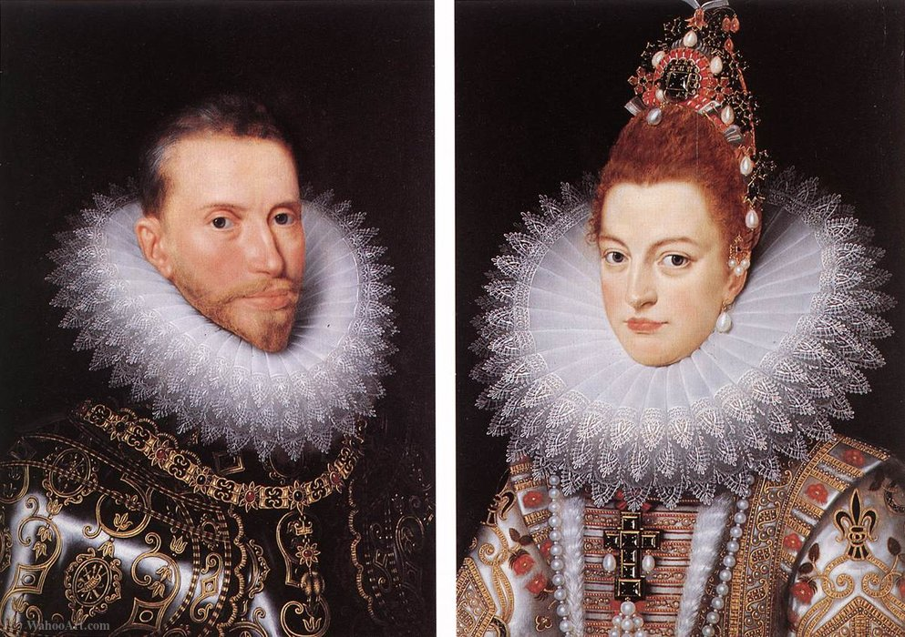 Portraits of Archduke Albrecht and Archduchess Isabella by Frans The Elder Pourbus (1545-1581, Belgium)