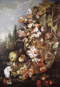 Franz Werner Von Tamm - Still Life of Flowers and Fruits in a Garden