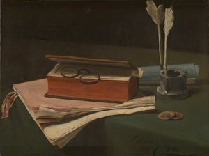 François Bonvin - Still Life with Book, Papers and Inkwell