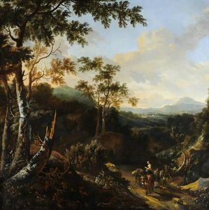 Frederik De Moucheron - A Wooded Landscape with Peasants and Donkeys on a Path