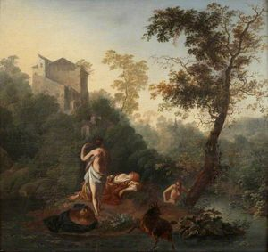 Frederik De Moucheron - Landscape with Three Bathers and a Goat