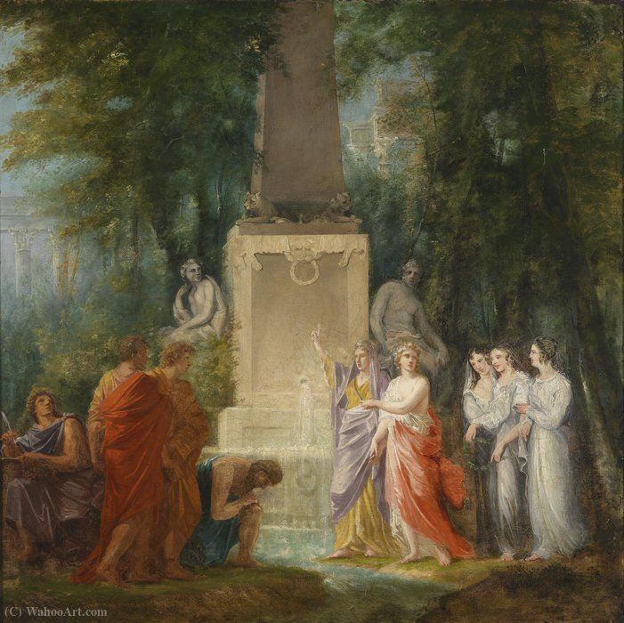 Poets drink at Castalian source by Friedrich Heinrich Füger (1751-1818, Germany) | Oil Painting | WahooArt.com